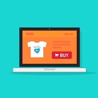 Onlineshopseite oder internet-shop auf flacher karikatur des laptop-computer vektors
