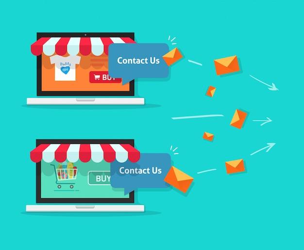 Onlineshopunterstützung und kundenkommunikation zwischen internet-shops auf laptop-computer über e-mail-mitteilungsvektor