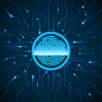 Onlinesicherheit. identifikationssystem zum scannen von fingerabdrücken. fingerabdruck auf schaltung gescannt. biometrisches autorisierungs- und sicherheitskonzept.