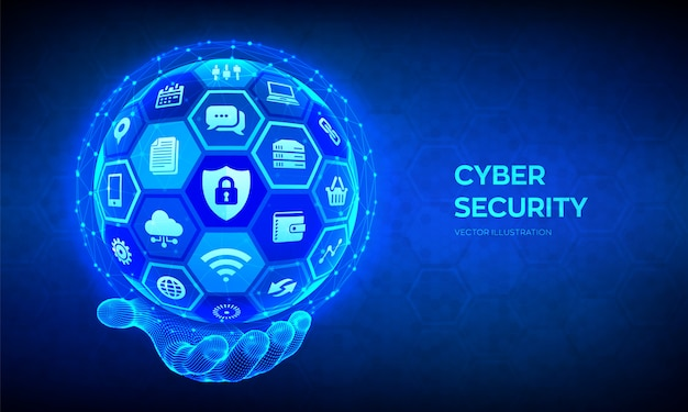 Onlinesicherheit. informationsschutz und sicheres konzept. abstrakte kugel mit oberfläche von sechsecken mit s in drahtgitterhand.