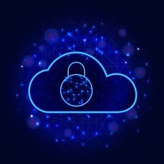 Onlinesicherheit. sichern sie wolkendatenspeichertechnologiedesign mit vorhängeschlosszusammenfassungshintergrund