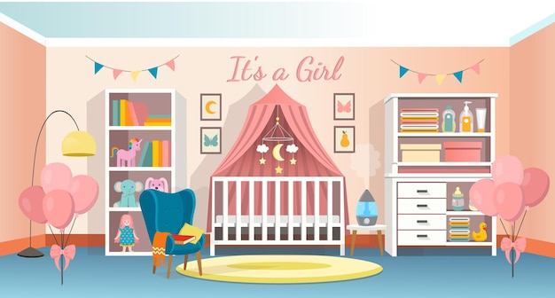 Oom-interieur für neugeborenes kindinterieur-schlafzimmer für ein baby mit einem kinderbett ein kommode sessel ein regal