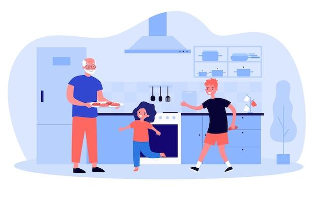 Opa kocht mit seinen enkeln in der küche. flache vektorillustration. älterer mann mit tablett mit keksen, mädchen und jungen helfen. familie, zuhause, essen, urlaub, erinnerungen, großelternkonzept
