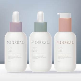 Opake mattweiße tropfflasche und mini-serumpumpe oder spenderflasche mit pastellfarbenem kragen-design