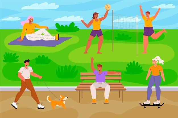 Open air aktivitäten im park