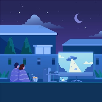 Open-air-kino-illustrationskonzept