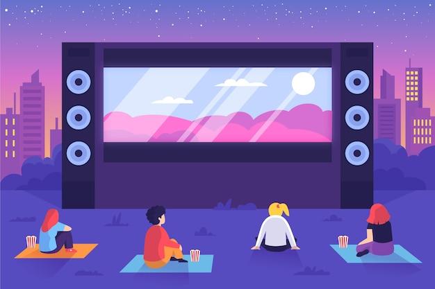 Open-air-kino mit großer leinwand