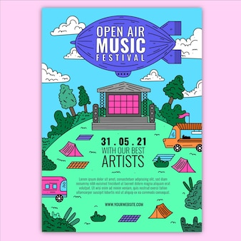 Open air musikfestival event poster design