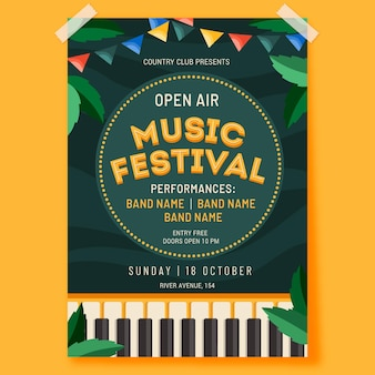 Open air musikfestival poster vorlage