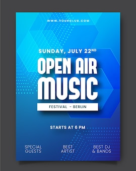Open air musikfestival poster Premium Vektoren