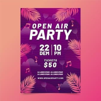 Open air party poster vorlage mit blättern