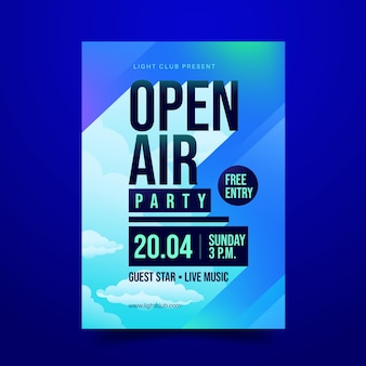 Open air party poster Premium Vektoren