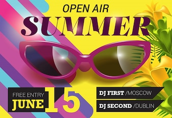 Open Air, Sommer, 15. Juni Schriftzug mit Blumen und Sonnenbrillen.