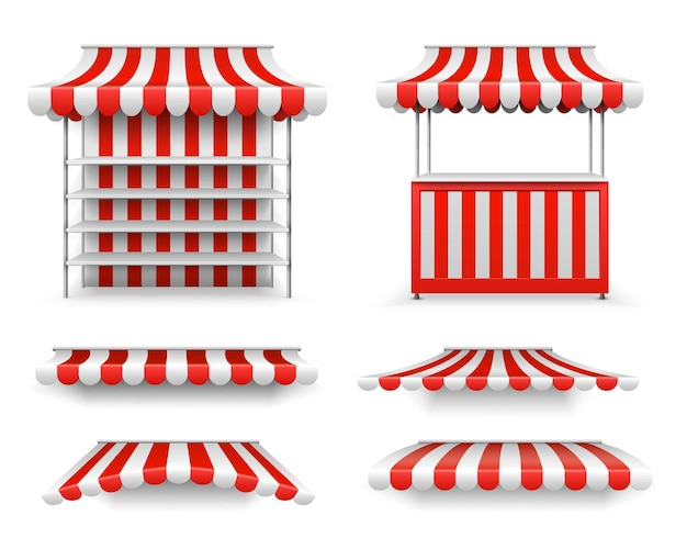 Open-air-stände. marktstandmodell, isolierte realistische leere anbieter. sonnenschirm, 3d-zelte oder dach für lebensmitteltheke. straße fair kiosk-vektor-illustration. stall und ständer für die verkaufsstraße