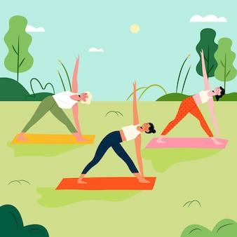 Open air yoga klasse illustration