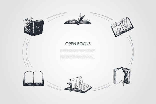 Open books concept set illustration