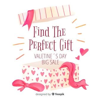 Open-box valentinstag verkauf hintergrund