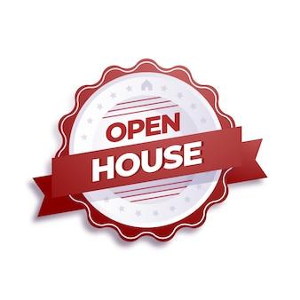 Open house label im roten stil