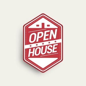 Open house label realistisches design