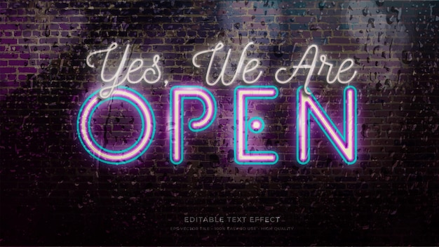 Open sign neon light typografie bearbeitbarer texteffekt