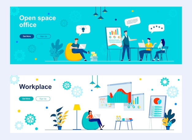 Open space office landing page set