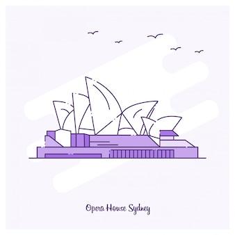 Opera-haus-markstein-purpur-punktierte linie skyline-vektorillustration