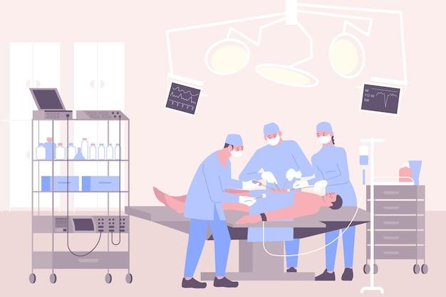 Operation in der flachen zusammensetzung des krankenhauses mit op-raumszenerie und gruppe von chirurgen