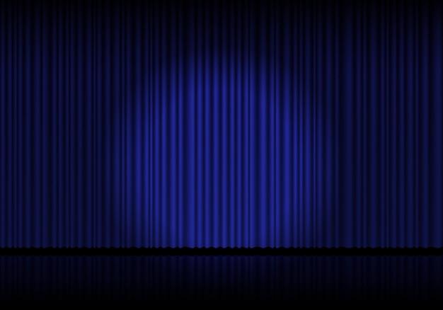 Opern-, kino- oder theaterbühnenvorhänge mit blauem vorhang. spotlight auf geschlossenem samtvorhanghintergrund. vektor-illustration