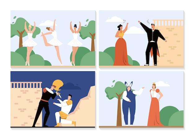 Opern- und balletttheater setzen isolierte szenen