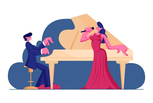 Opernaufführung auf der bühne, cartoon flat illustration