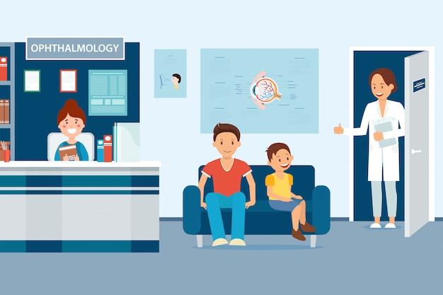 Ophthalmologie am krankenhaus, doktor lädt patienten ein