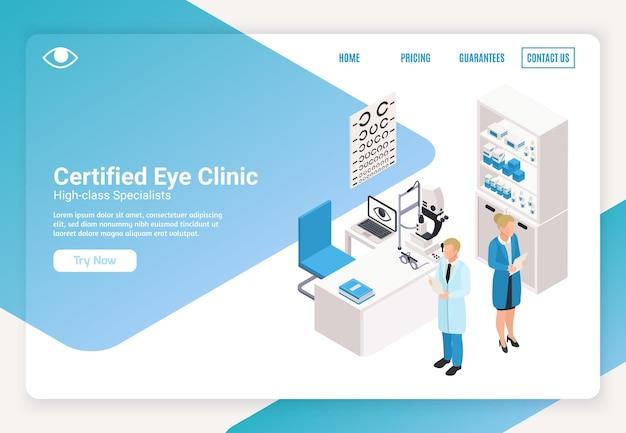 Ophthalmologie-webseitenvorlage mit isometrischer illustration mit augenklinikärzten und textfeld