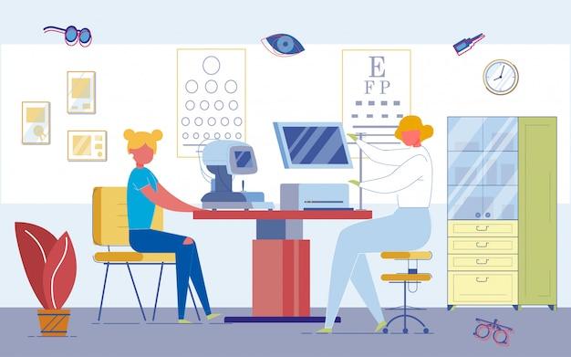 Ophthalmologischer sehtest an high-tech-geräten