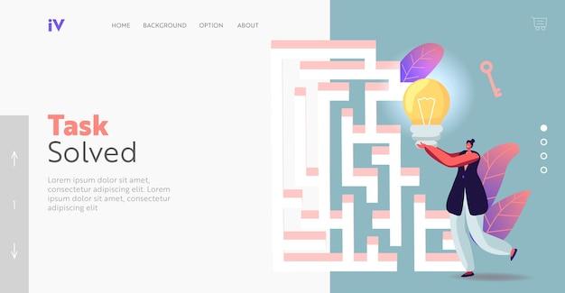 Opportunity, insight, challenge landing page vorlage. geschäftsfrau mit riesiger glühbirne, die den ausgang im labyrinth oder im labyrinth sucht, der idee, lösung, geschäftsstrategie findet. cartoon-vektor-illustration