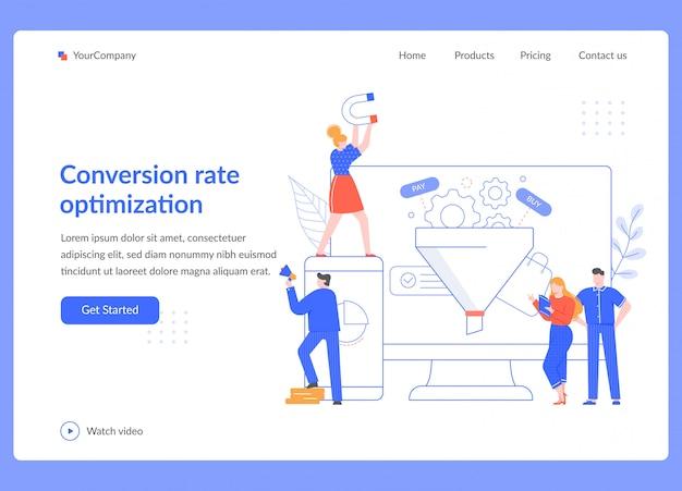 Optimierung der conversion-rate. strategie für verkaufstrichter, seo-optimierung und statistische verkaufstests. marketing service illustration. business landing page vorlage für social media promotion