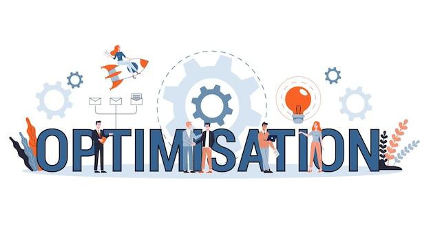 Optimierungskonzept. idee der verbesserung und entwicklung. technologie und internet. reparieren und reparieren. satz bunte symbole. illustration
