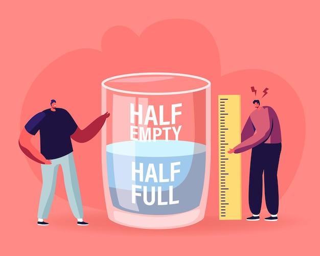 Optimistisches und pessimistisches konzept. karikatur flache illustration