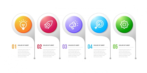 Option nummer workflow infografik design