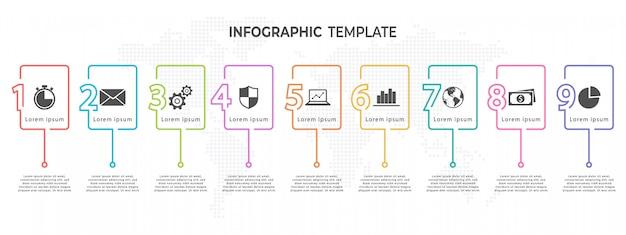 Optionen der infografik-vorlage für die zeitleiste mit 9 nummern.