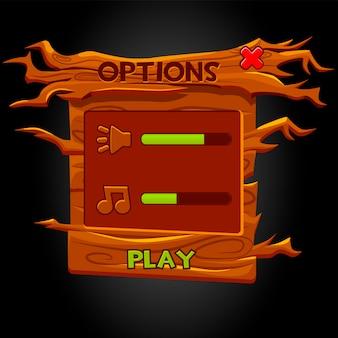 Optionen für das popup-fenster der hölzernen benutzeroberfläche für das spiel.
