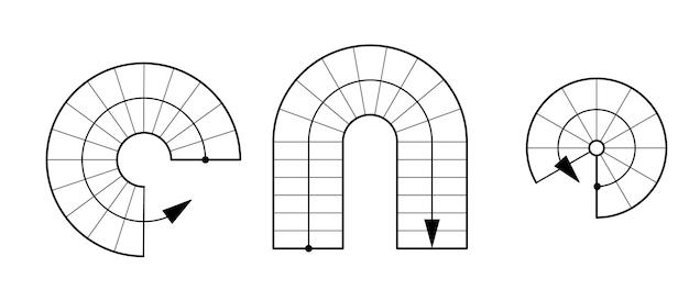 Optionen für runde treppen. set für die gestaltung von architekturzeichnungen.