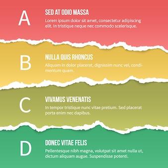 Optionen für zerrissenes papier. design und banner, seite und gerippt. vektorillustration