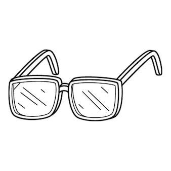 Optische brille in . gekritzel. handgezeichnete schwarz-weiß-vektor-illustration. die designelemente sind auf einem weißen hintergrund isoliert