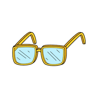 Optische brille in . gekritzel. von hand gezeichnete bunte vektorillustration.