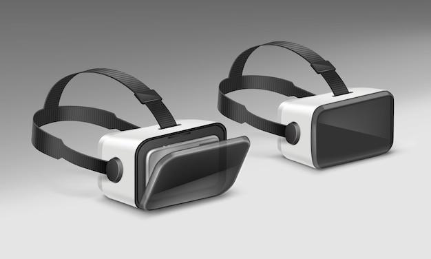 Optische kopfmontierte anzeige oder virtual-reality-brille in der perspektive lokalisiert auf weißem hintergrund