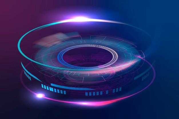 Optische linse fortschrittliche technologie vektorgrafik in neonviolett