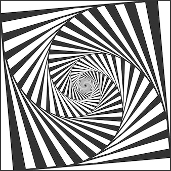 Optische spiraltäuschung. wechselnde streifen in schwarz und weiß, die einen hypnotischen effekt erzeugen, geometrischer schwindel und rotierende streifen. abstrakte kurven mit täuschender bewegungsvektorillustration