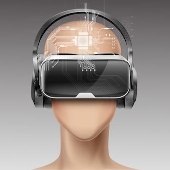 Optisches head-mounted-display oder virtual-reality-brille und kopfhörer