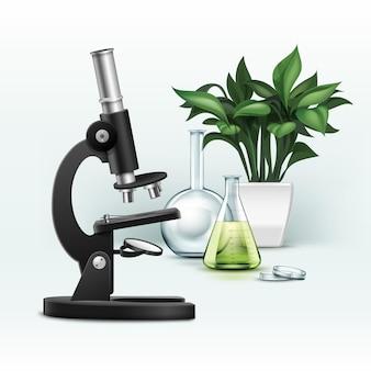 Optisches vektorschwarzmetallmikroskop, petrischale, kolben mit grüner flüssigkeit und pflanze lokalisiert auf hintergrund