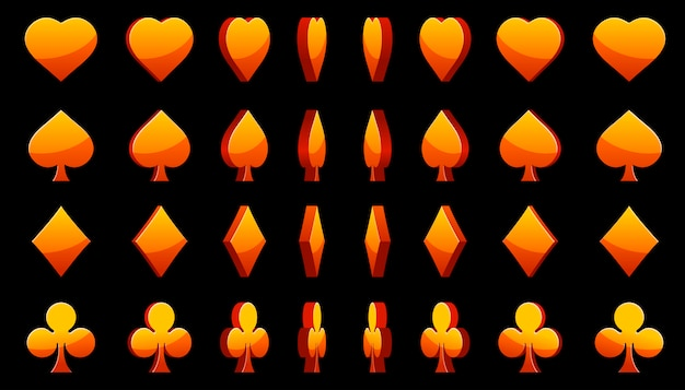 Orange 3d-symbole pokerkarten, rotation des animationsspiels